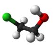 Ball and stick model of 2-chloroethanol