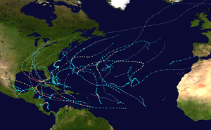 Tracks of about 28 tropical storms, including 15 hurricanes, cluster in the Caribbean and Gulf of Mexico, with some scattered in the Atlantic. Seven hurricanes are major, and most of them make landfall on the U.S. Gulf coast.