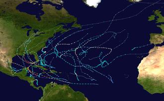 Timeline of the 2005 Atlantic hurricane season - Map showing all storm paths in the 2005 Atlantic hurricane season