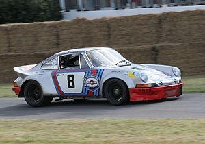 Porsche in motorsport - Targa Florio winning 1973 Porsche 911 Carrera RSR in Martini Racing colours at the 2006 Goodwood Festival of Speed.
