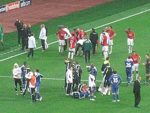 2008 UEFA Champions League Final - The players prepare for the penalty shoot-out.