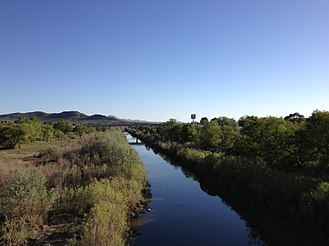Humboldt River - View southwest from footbridge in Elko, the largest city along the Humboldt