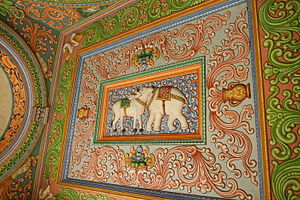 Saraswathi Mahal Library - Painting outside the Sarasvati Mahal Library.