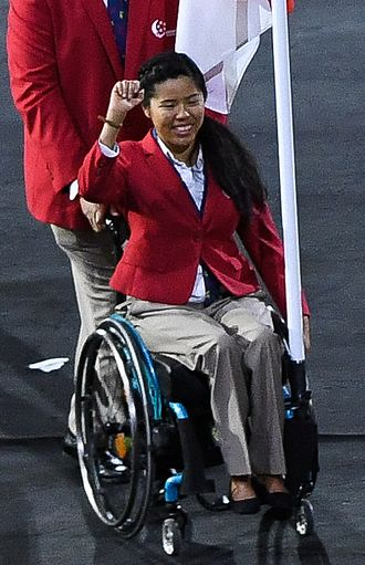 Yip Pin Xiu - Yip as the flag bearer for Singapore at the 2016 Summer Paralympics Parade of Nations
