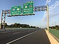 2018-08-26 07 04 12 View south along Interstate 295 and U.S. Route 130 just north of Exit 21 (SOUTH New Jersey State Route 44, TO Gloucester County Route 640, Paulsboro, Woodbury) in West Deptford Township, Gloucester County, New Jersey.jpg