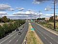2018-10-29 14 26 41 View north along Virginia State Route 286 (Fairfax County Parkway) from the overpass for the Washington and Old Dominion Railroad Trail in Reston, Fairfax County, Virginia.jpg