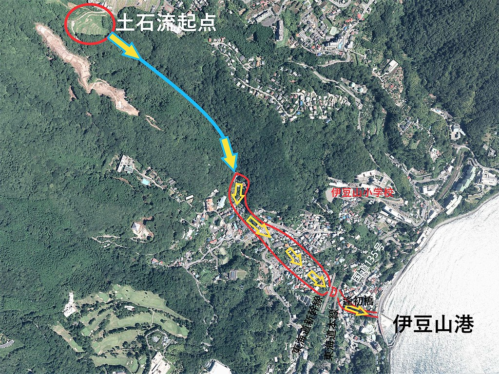 2021, Atami debris flow disaster. An aerial photograph outlining the damage.jpg