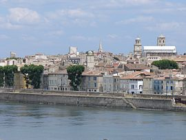 Left bank of the Rhône in Arles