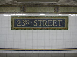 23rd Street (BMT Broadway Line) - Station identification tablet