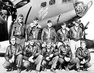 A-2 jacket - Most of this B-17F's crew is wearing leather A-2 jackets