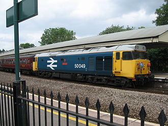 """Railtour - 50049 Defiance, as preserved in BR """"Large Logo"""" livery on a railtour at Bath Spa Station on 3 June 2007"""