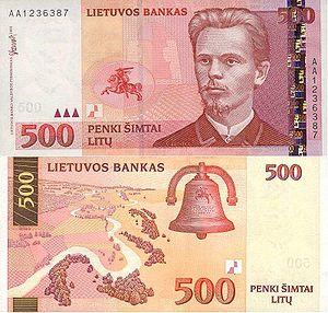 Lithuanian litas - Image: 500 litai (2000)