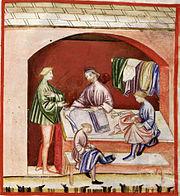 Silk wearing, tacuinum sanitatis casanatensis (XIV century)