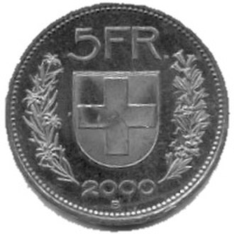 Cupronickel - Five Swiss francs