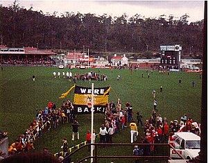 "Winfield Statewide Cup - Hobart's banner reads ""We're Back!"" prior to the 1980 Winfield Statewide Cup final."