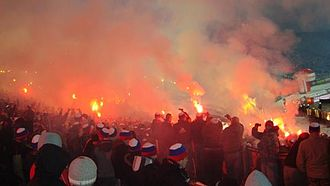 Górnik Zabrze - Górnik Zabrze supporters during the Great Silesian Derby