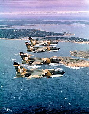 A-7D Corsair IIs of the 124th Tactical Fighter Squadron and 175th Tactical Fighter Squadrons fly in formation during NATO exercise