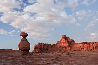 Goblin Valley State Park - Dark red hoodoos at dusk