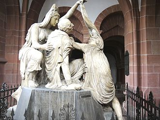 Friedrich Karl Joseph von Erthal - Neoclassical tomb of Friedrich Karl Joseph von Erthal at Aschaffenburg, showing him allegorically as a dying hero of antiquity