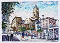 ATESSA-1994- Distributore Benzina a Via C. Battisti - China e Olio 22 x 19 dipinto di Gaetano Minale.jpg