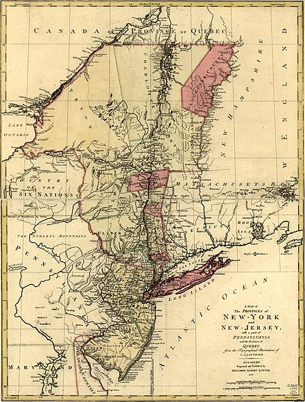 New York and neighboring provinces, by Claude Joseph Sauthier, 1777 A Map of the Provinces of New York and New Jersey, with a part of Pennsylvania and the Province of Quebec. LOC 74692641 (cropped).jpg