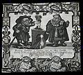 A dwarf alchemist and his assistant standing by a crucible. Wellcome V0025567.jpg