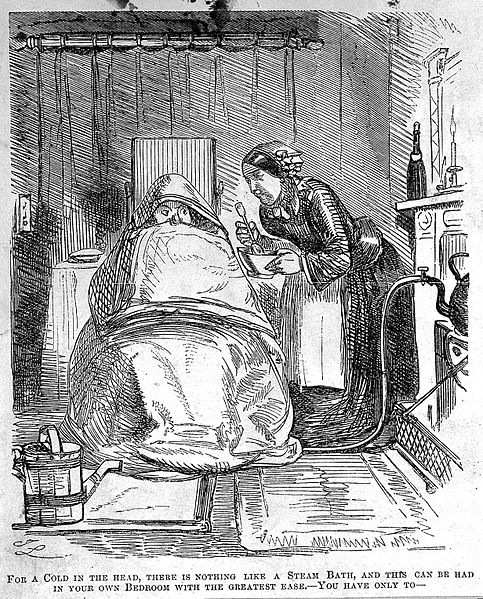 File:A man ill with a cold, wrapped in blankets as his servant at Wellcome L0005371.jpg