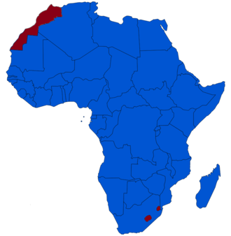 Monarchies in Africa - A map of Africa exhibiting the continent's monarchies (red) and republics (blue).