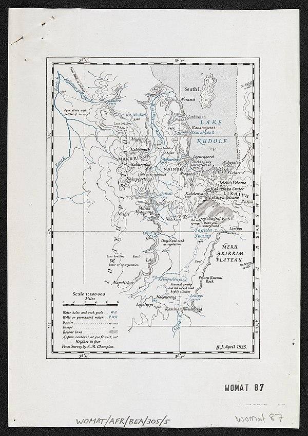 600px a map of lake rudolf and the region to the south west. reprinted from the geographical journal april 1935. %28womat afr bea 305 5%29