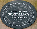 A memorial plaque to Princess Gwenllian at Sempringham, Lincolnshire, England.JPG