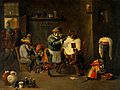 A monkey barber-surgeon's establishment. Oil painting after Wellcome V0017621.jpg