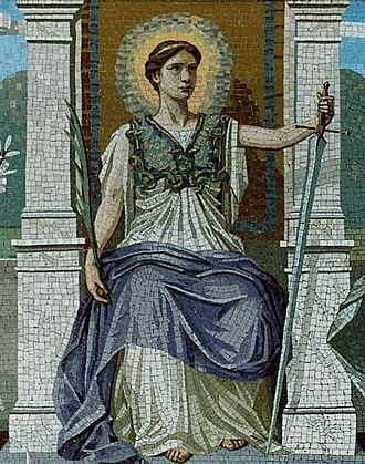 Rule of law - Mosaic representing both the judicial and legislative aspects of law. The woman on the throne holds a sword to chastise the guilty and a palm branch to reward the meritorious. Glory surrounds her head, and the aegis of Minerva signifies the armor of righteousness and wisdom.