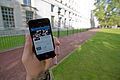 A serviceman accesses social media channels using a smart phone, outside MOD Main Building in London MOD 45156045.jpg