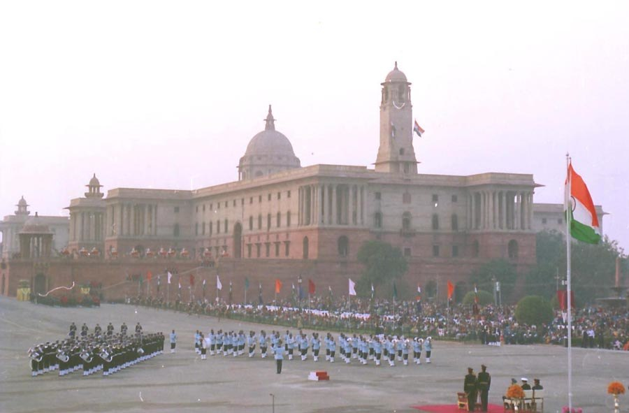 A view of Beating Retreat, a grand finale of this year's Republic Day function, in New Delhi on January 29, 2004