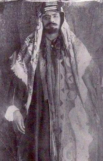 "Emirate of Jabal Shammar - A photograph of Abdul Aziz bin Mutʿib, nicknamed ""Al Janāzah"". the sixth Amir of Jabal Shammar."