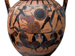 Achilles Fighting Hektor and Aineas over the body of Troilos Attic Black-Figure vessel from Staatliche Antikensammlungen, Munich by Carole Raddato Flickr 8958378098 67b7fae0b7 k glare reduced white bg.png