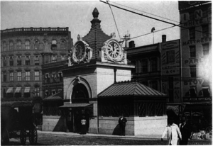 Adams Square (BERy station) - The original headhouse in 1898