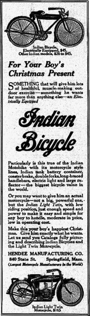 Indian Model O - Advertisement in the December 1916 issue of Boys' Life pitching Indian bicycles and Indian Model O motorcycles as Christmas presents for sons