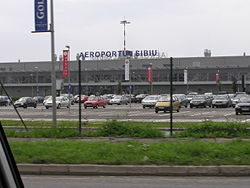 Aeroportul Sibiu, main building and carpark.jpg