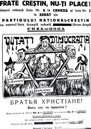 National Christian Party - Antisemitic and anti-democratic imagery on a National Christian Party political poster