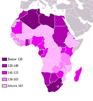 Poverty in Africa - High index values, indicated by lighter colors, show the relative poverty of African countries as ranked by the UNDP's 2004 list of countries by quality of life.