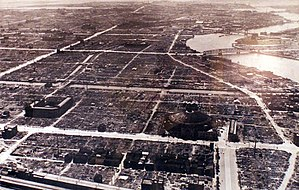 Japan campaign - Tokyo from the air after the firebombing of Tokyo, 1945.