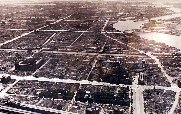 Tokyo from the air after the firebombing of Tokyo, 1945. After Bombing of Tokyo on March 1945 19450310.jpg