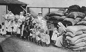 Strategic bombing - A 1918 Air Raid rehearsal, evacuating children from a hospital.