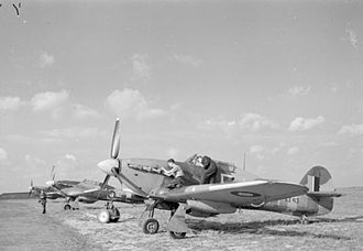 No. 164 Squadron RAF - Three Hurricane Mark IVs of No. 164 Squadron undergoing servicing at RAF Middle Wallop, Hampshire.