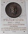 Aladar Buzagh plaque, Eotvos Lorand University North Block, 2016 Ujbuda.jpg