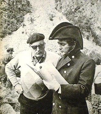 Cinema of Argentina - Period-piece master Leopoldo Torre Nilsson (left) with Alfredo Alcón during the filming of El Santo de la Espada (1970).