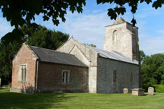 Church of England parish church of All Saints, Alton Priors, Wiltshire: morning view from the northeast. All Saints' is redundant parish church in the care of the Churches Conservation Trust.