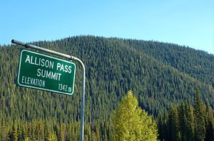 Crowsnest Highway - The peak of Allison Pass.