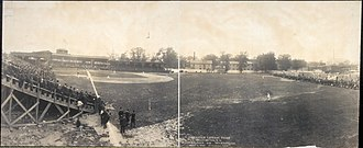 Boundary Field - An American League baseball game between the Washington Nationals and the Philadelphia Athletics at Boundary Field in May 1905.